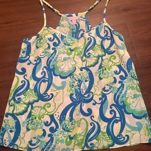 Lilly Pulitzer silk dusk top in Crystal coast XS